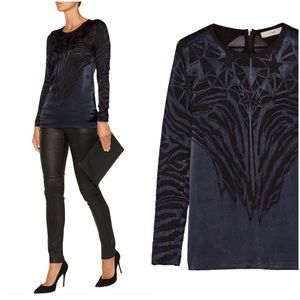 IRO Catrine Navy Silk Blend Burnout Blouse